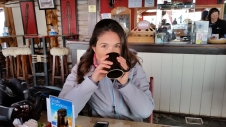 Having Hot Chocolate before heading down for Apres Ski